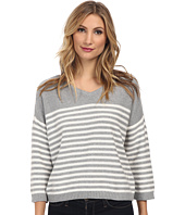 Vince Camuto - 3/4 Sleeve V-Neck Striped Sweater
