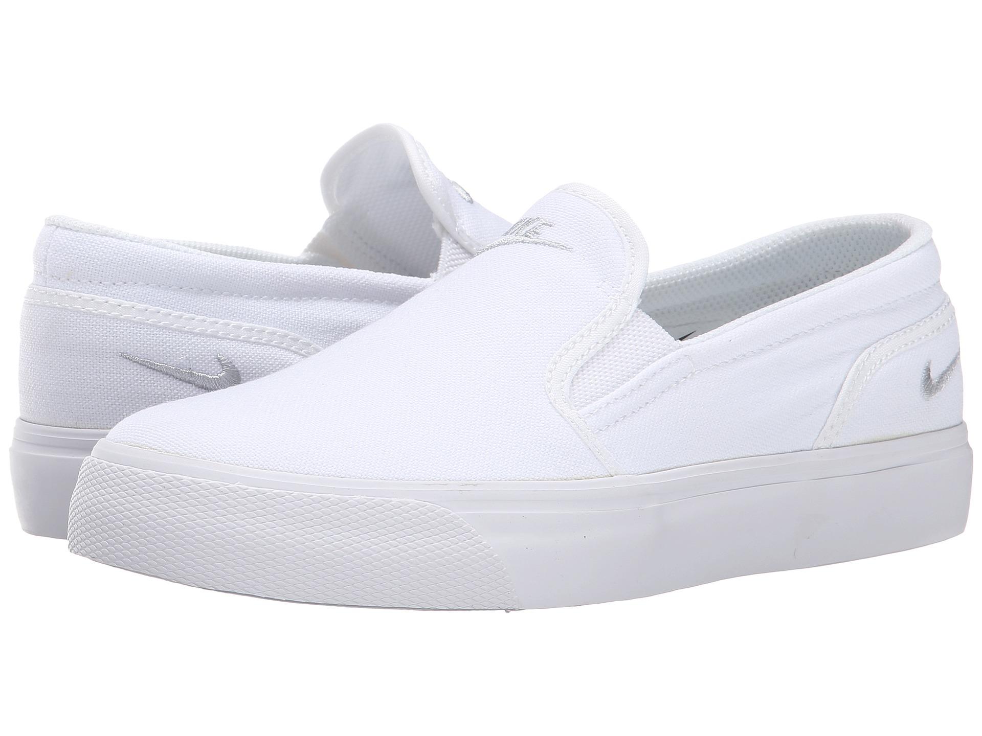 Nike Toki Slip Canvas White/Metallic Platinum - Zappos.com ...