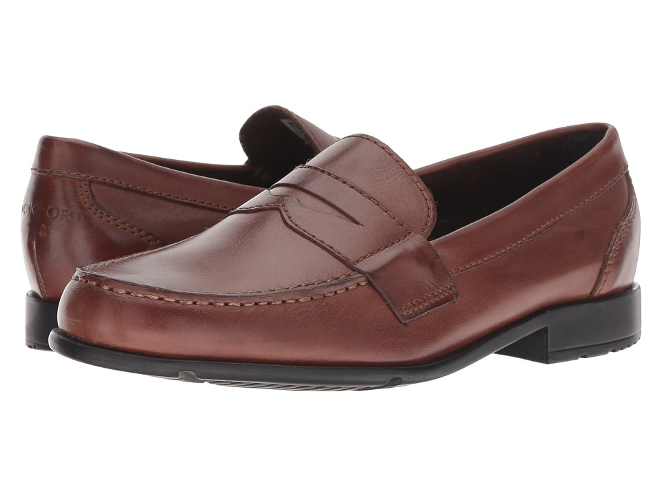 1960s Style Men's Clothing, 70s Men's Fashion Rockport - Classic Loafer Lite Penny Dark Brown Mens Slip-on Dress Shoes $99.95 AT vintagedancer.com
