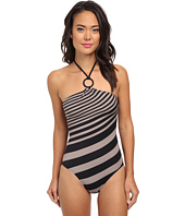 DKNY - Stripe-To-Stripe Halter Maillot One-Piece