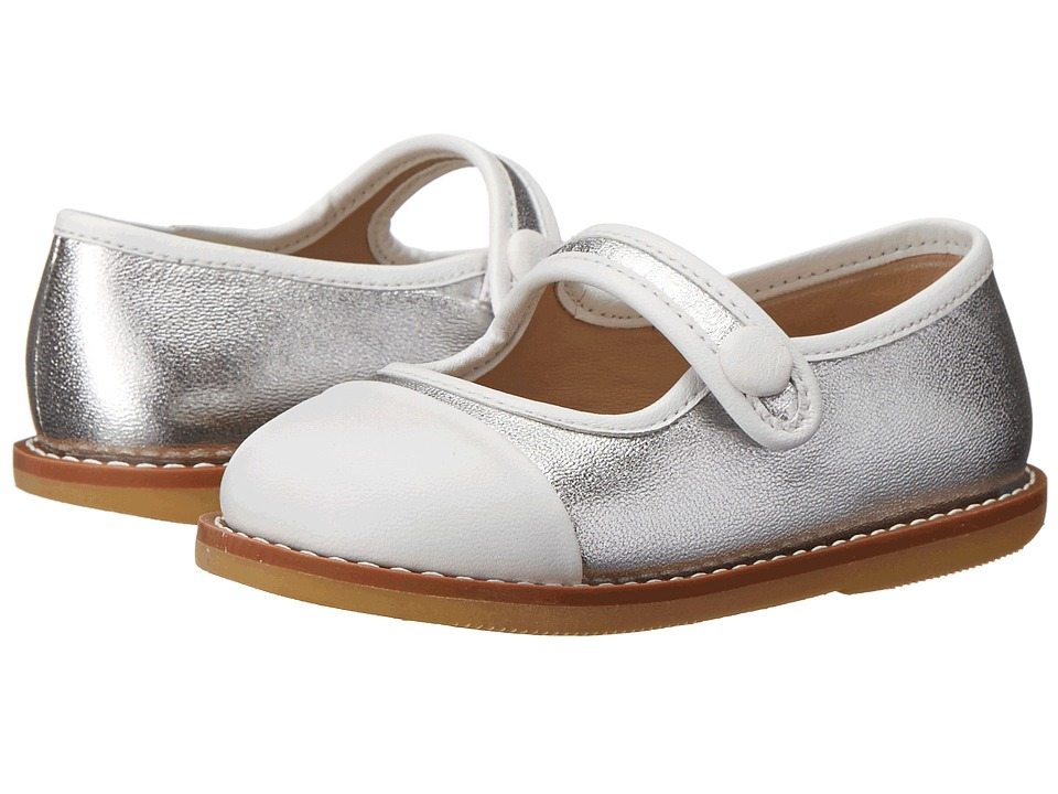 Elephantito Color Block Mary Jane Toddler Silver Girls Shoes