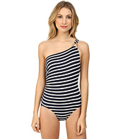 MICHAEL Michael Kors - Sophia Stripe One Shoulder Maillot w/ Hardware