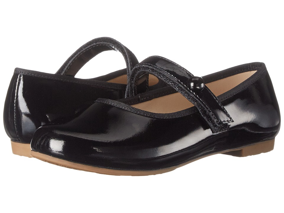Elephantito Princess Flat Toddler/Little Kid/Big Kid Patent Black Girls Shoes