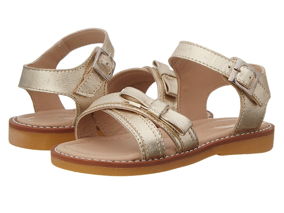 Elephantito Lili Crossed Sandal w/Bow Toddler/Little Kid Gold Girls Shoes