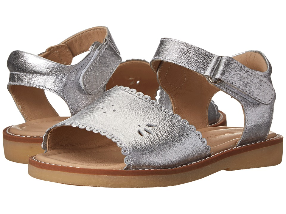 Elephantito Classic Sandal w/ Scallop Toddler/Little Kid Silver Girls Shoes