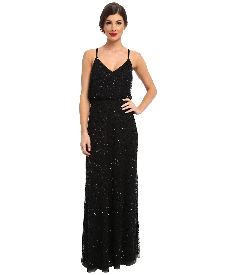 Adrianna Papell Long Deco Bead Blouson (Black) Women's Dress