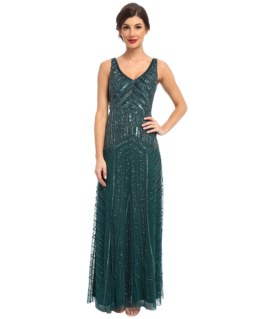 Adrianna Papell - Long Beaded Dress Hunter Womens Dress $340.00 AT vintagedancer.com
