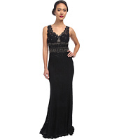 Adrianna Papell - V-Neck Embellished Lace Gown