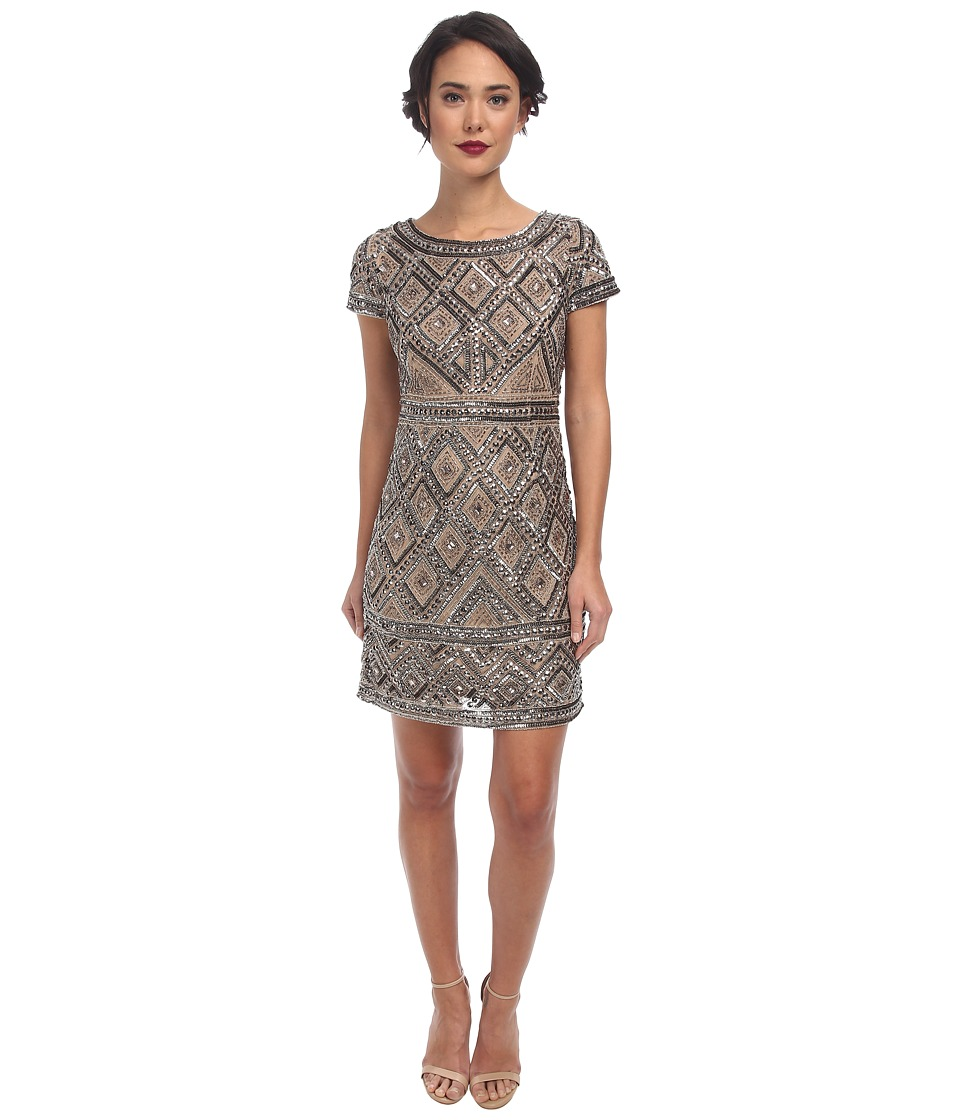 Adrianna Papell - Cap Sleeve Geo Bead Sheath Nude Womens Dress $240.00 AT vintagedancer.com