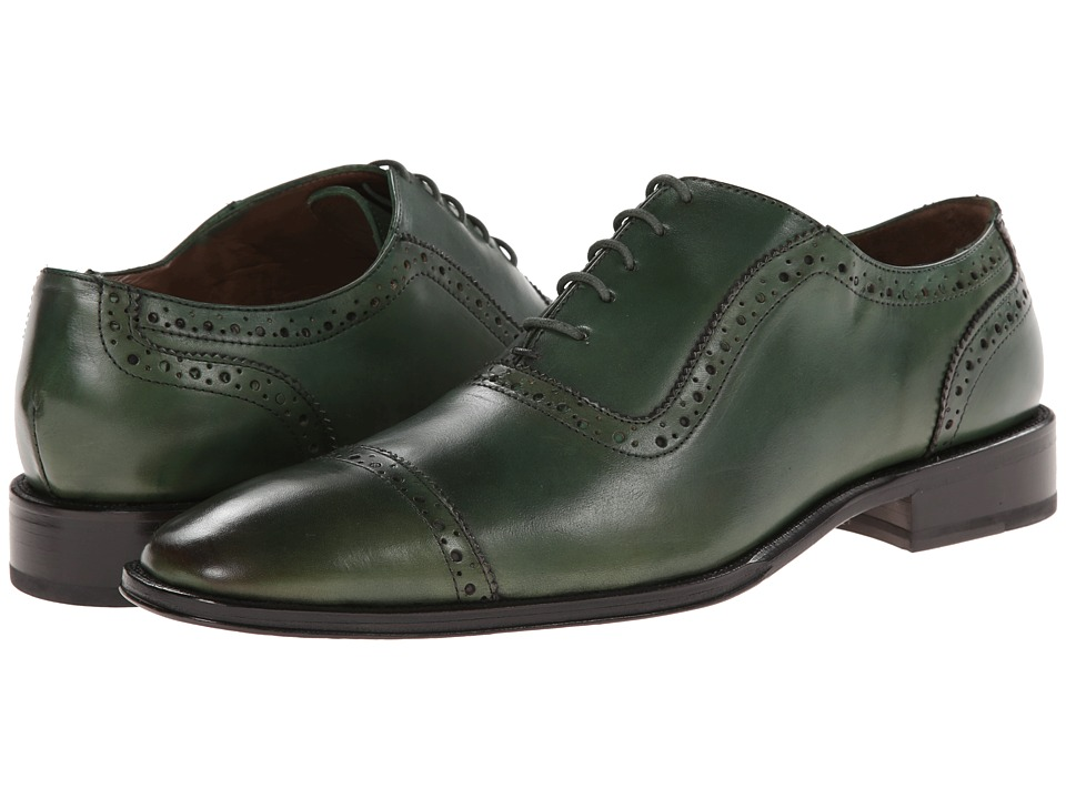 Messico Galiano Green Leather Mens Flat Shoes