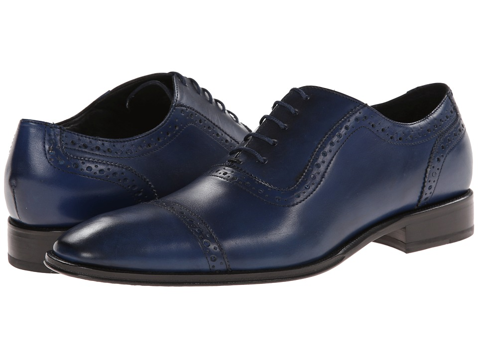 Messico Galiano Blue Leather Mens Flat Shoes