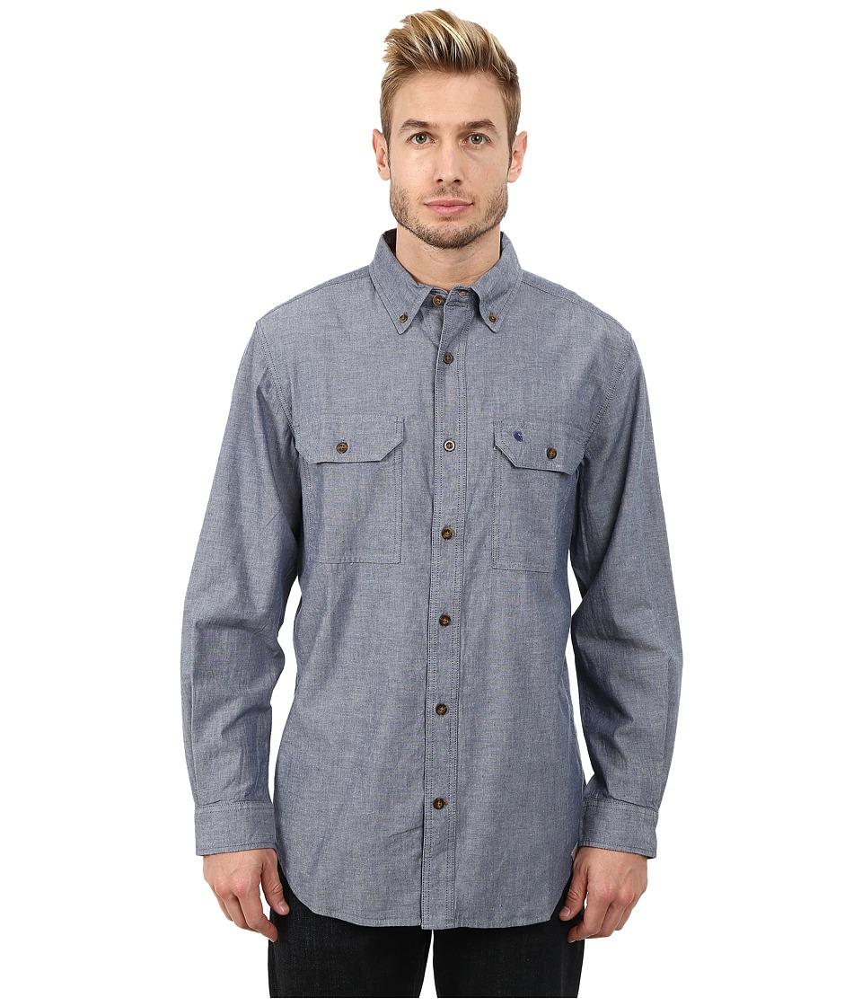 Carhartt - Fort Solid L/S Shirt (Denim Blue Chambray) Mens Long Sleeve Button Up