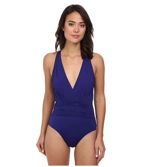 Badgley Mischka - Solids Dip Back Mio (Midnight Blue) Women's Swimsuits One Piece