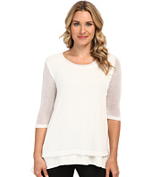 Nally & Millie - Double Layer 3/4 Sleeve Open Knit Tunic