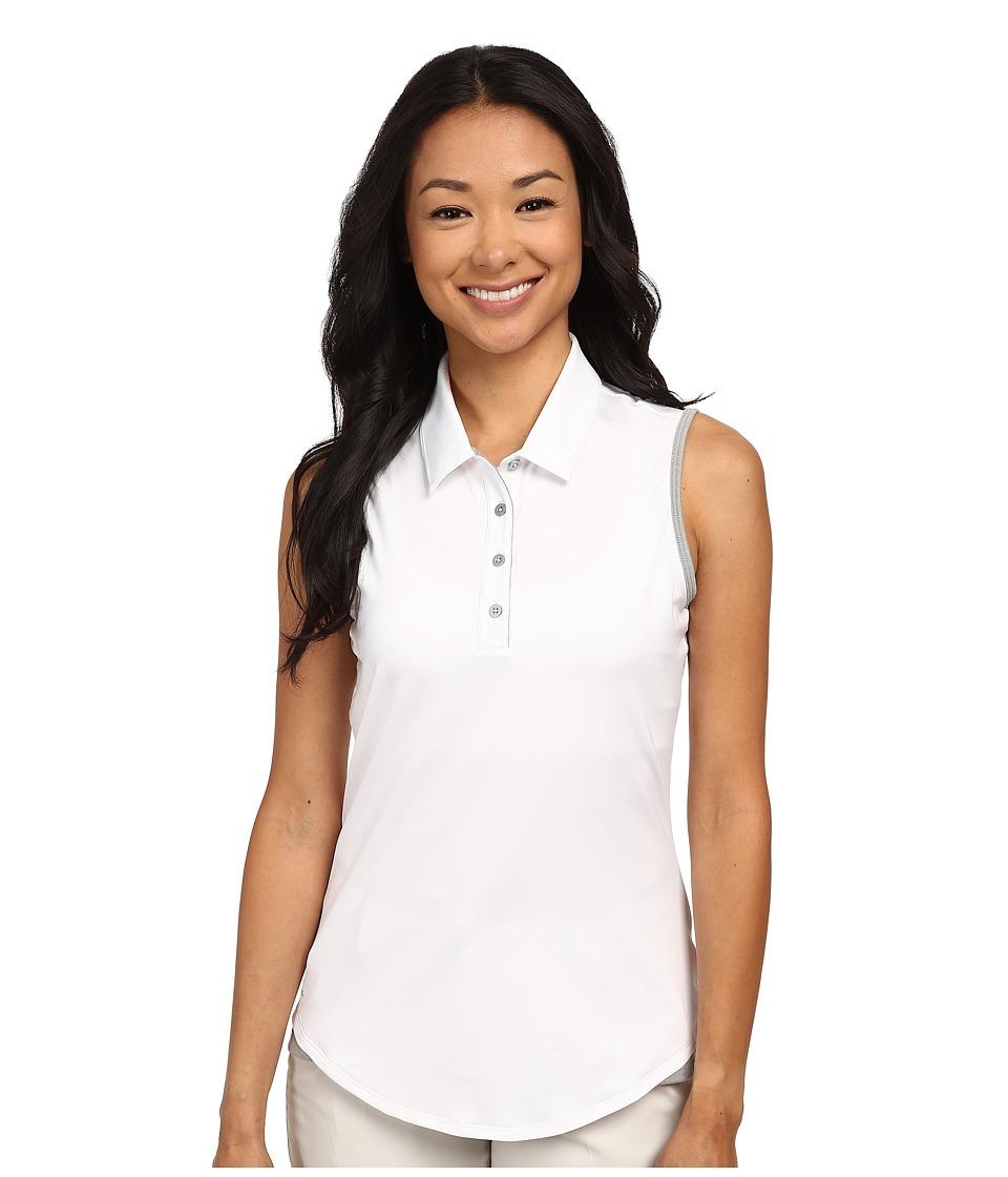 adidas Golf Climalite Essentials 3 Stripes Sleeveless Polo 16 White/Medium Grey Heather Womens Sleeveless
