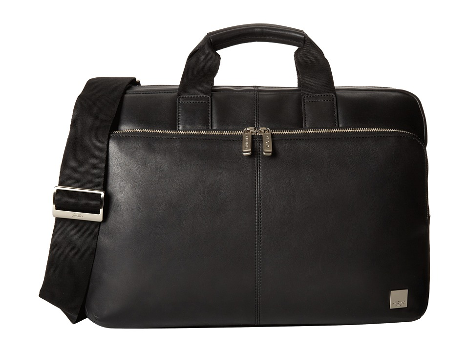 KNOMO London - Newbury Leather Laptop Briefcase (Black) Briefcase Bags