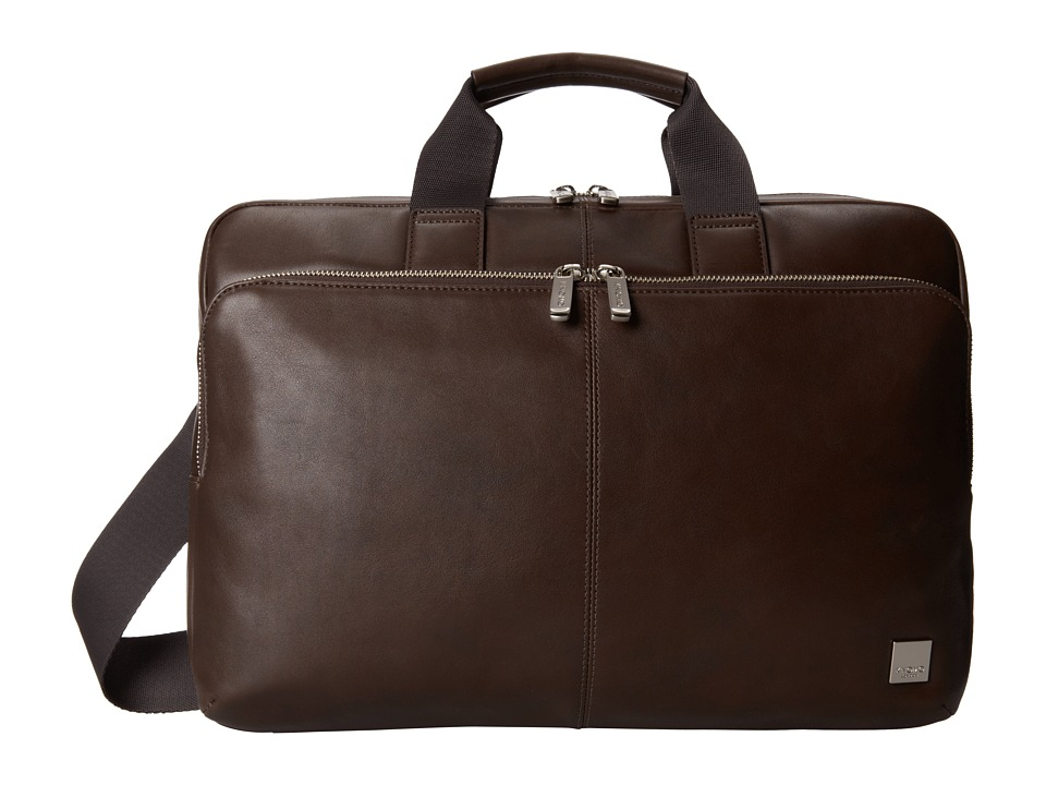 KNOMO London - Newbury Leather Laptop Briefcase (Brown) Briefcase Bags
