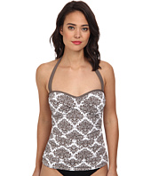 Tommy Bahama - Floral Medallion Halter Twist Front Cup Long Tankini