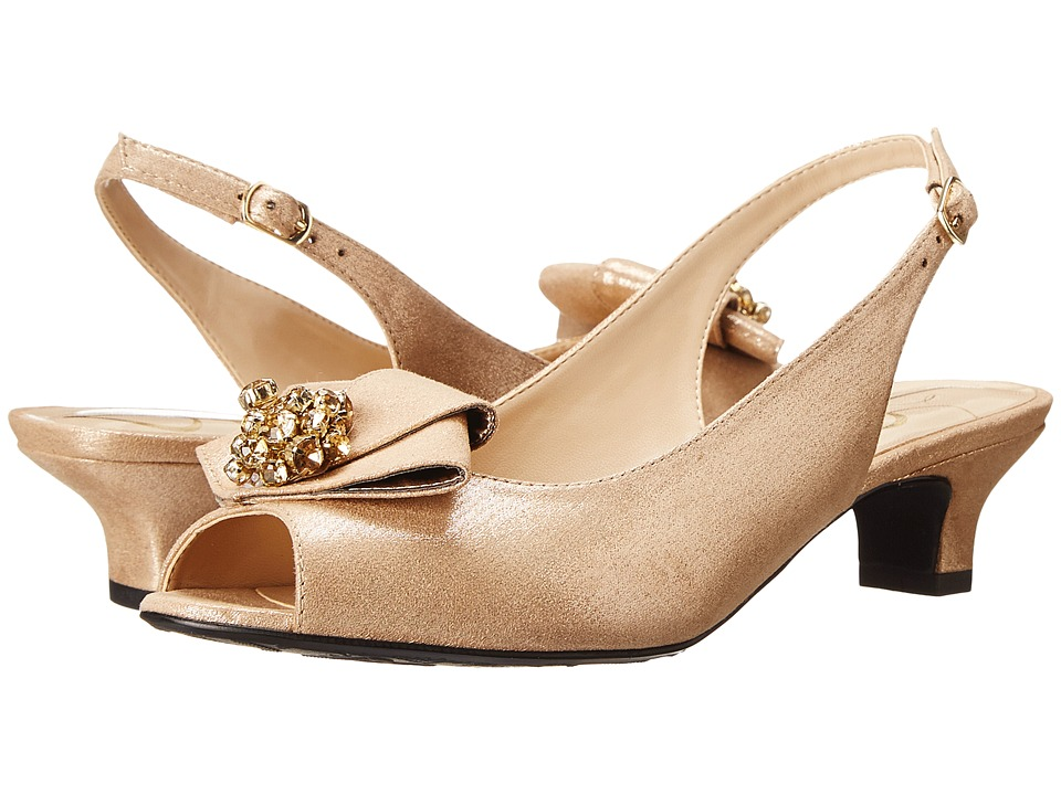 J. Renee - Jadan Savanna Gold Glimmer Satin Womens 1-2 inch heel Shoes $104.95 AT vintagedancer.com