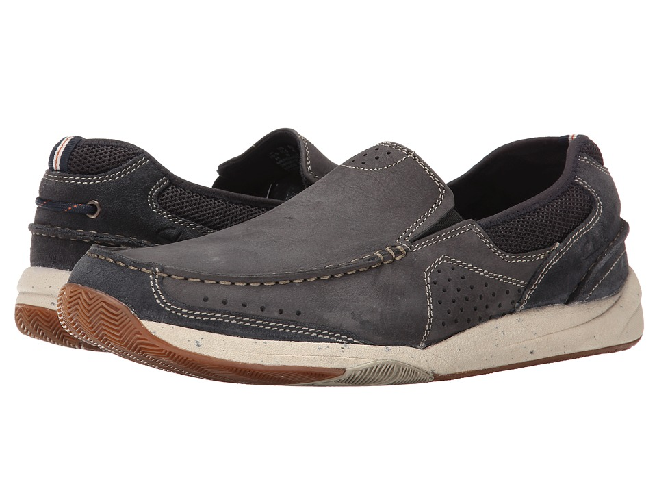 Clarks Allston Free Navy Nubuck Mens Slip on Shoes