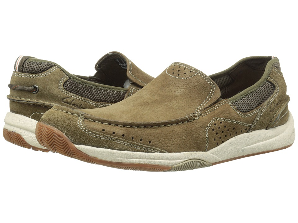 Clarks Allston Free Olive Nubuck Mens Slip on Shoes