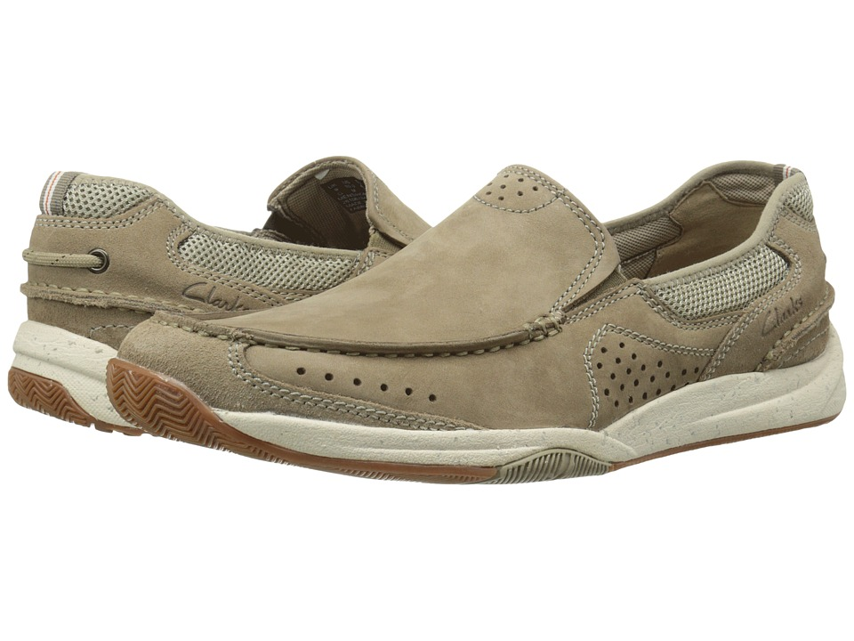 Clarks Allston Free Taupe Nubuck Mens Slip on Shoes