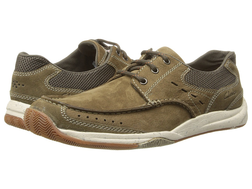 Clarks Allston Edge Olive Nubuck Mens Slip on Shoes