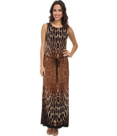 Christin Michaels - Belted Animal Print Maxi Dress
