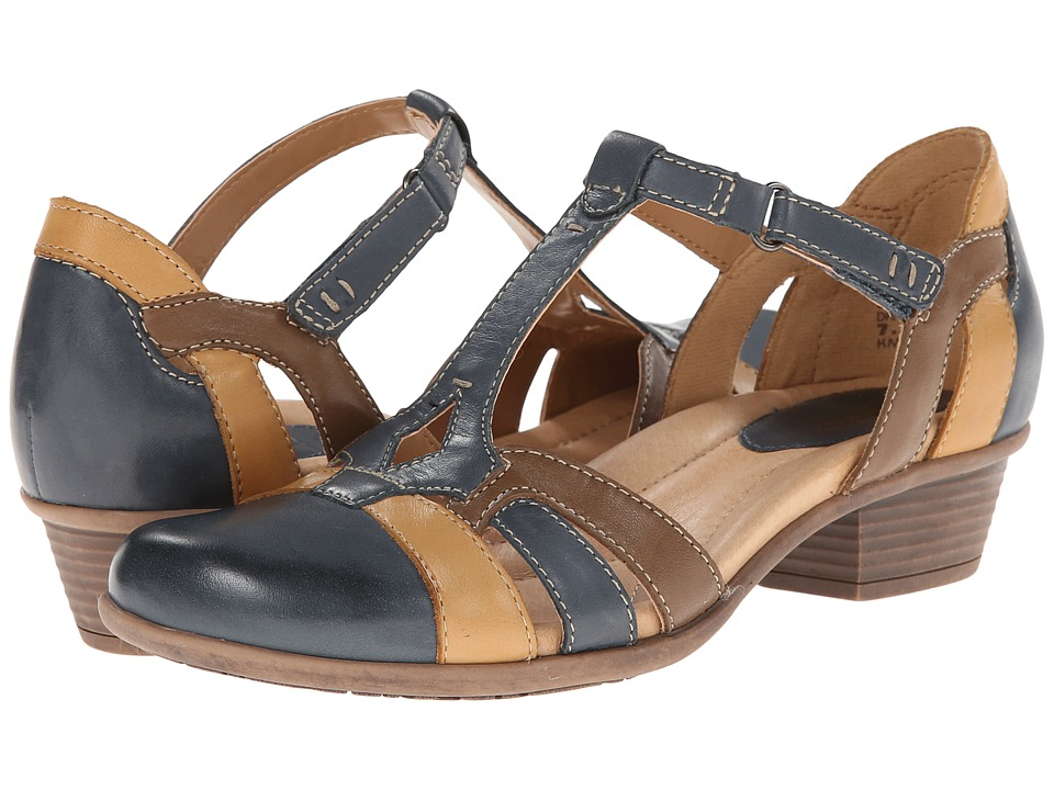 Earth - Luck Dark Blue Multi Full Grain Leather Womens 1-2 inch heel Shoes $109.99 AT vintagedancer.com