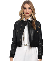 DSQUARED2 - Collarless Leather Bomber Jacket