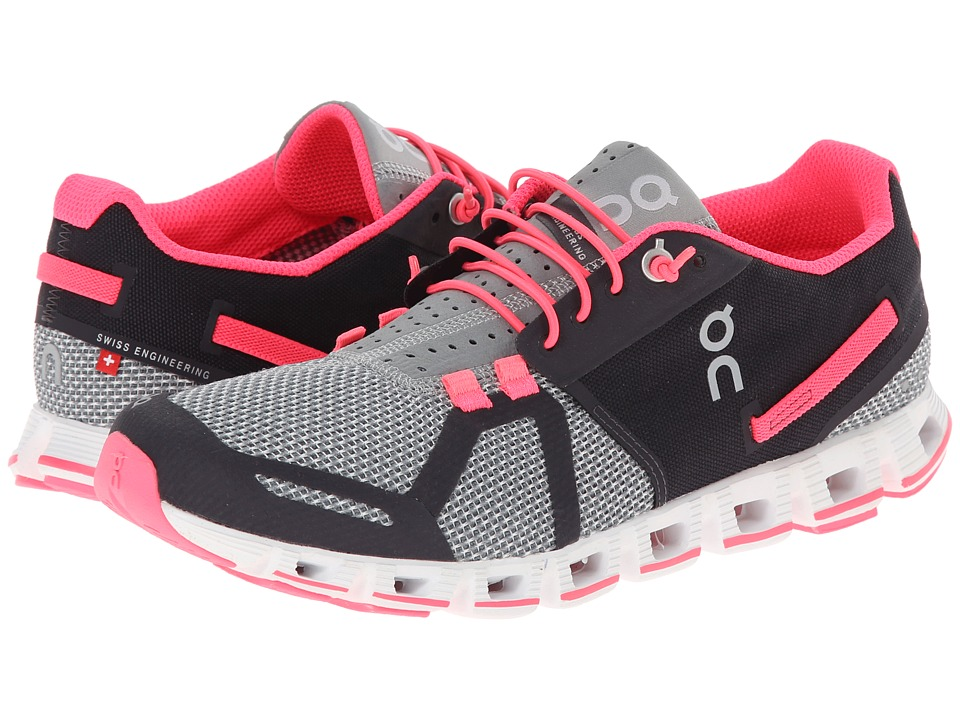 On Cloud Grey/Neon Pink Womens Running Shoes