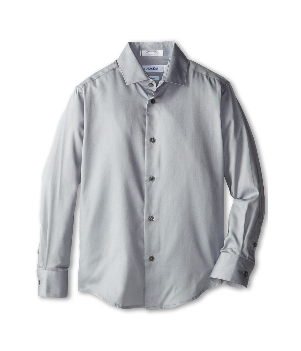 Calvin Klein Kids - Sateen Shirt (Big Kids) (Light Grey) Boys Long Sleeve Button Up