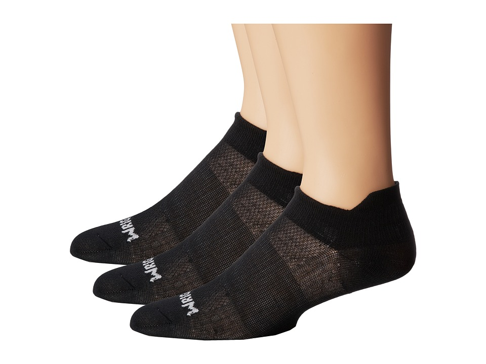 Wrightsock - Coolmesh II Tab 3 Pack (Black) Low Cut Socks Shoes