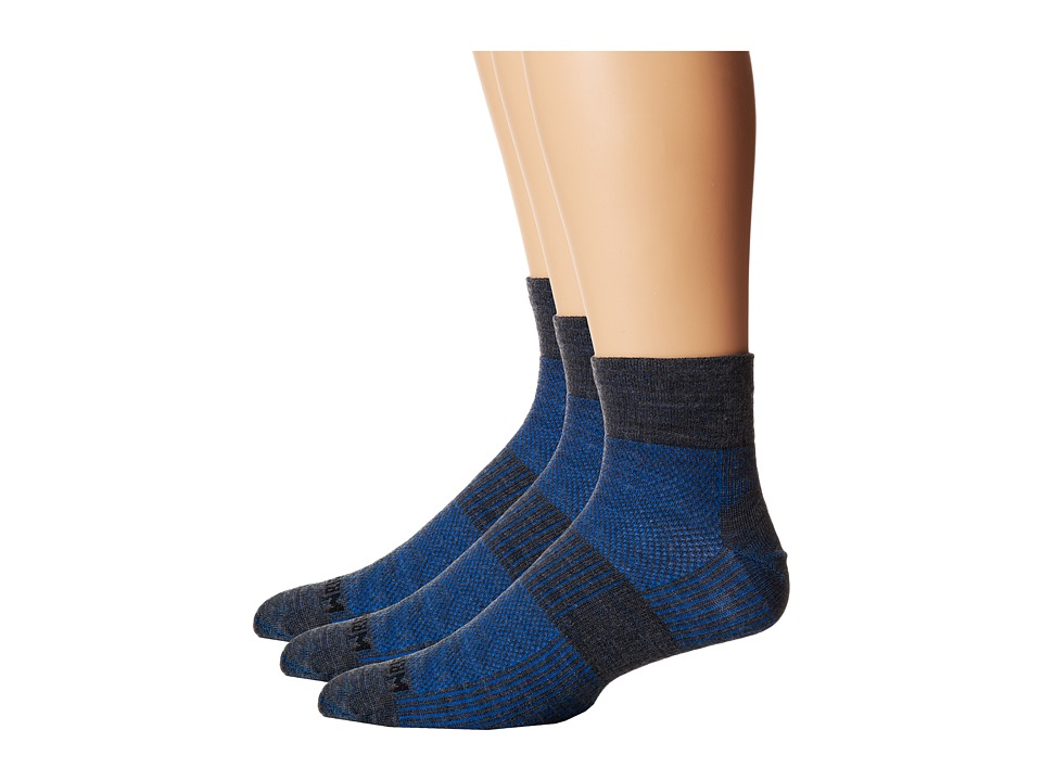 Wrightsock - Merino Coolmesh Quarter 3 Pack (Grey/Blue) Quarter Length Socks Shoes