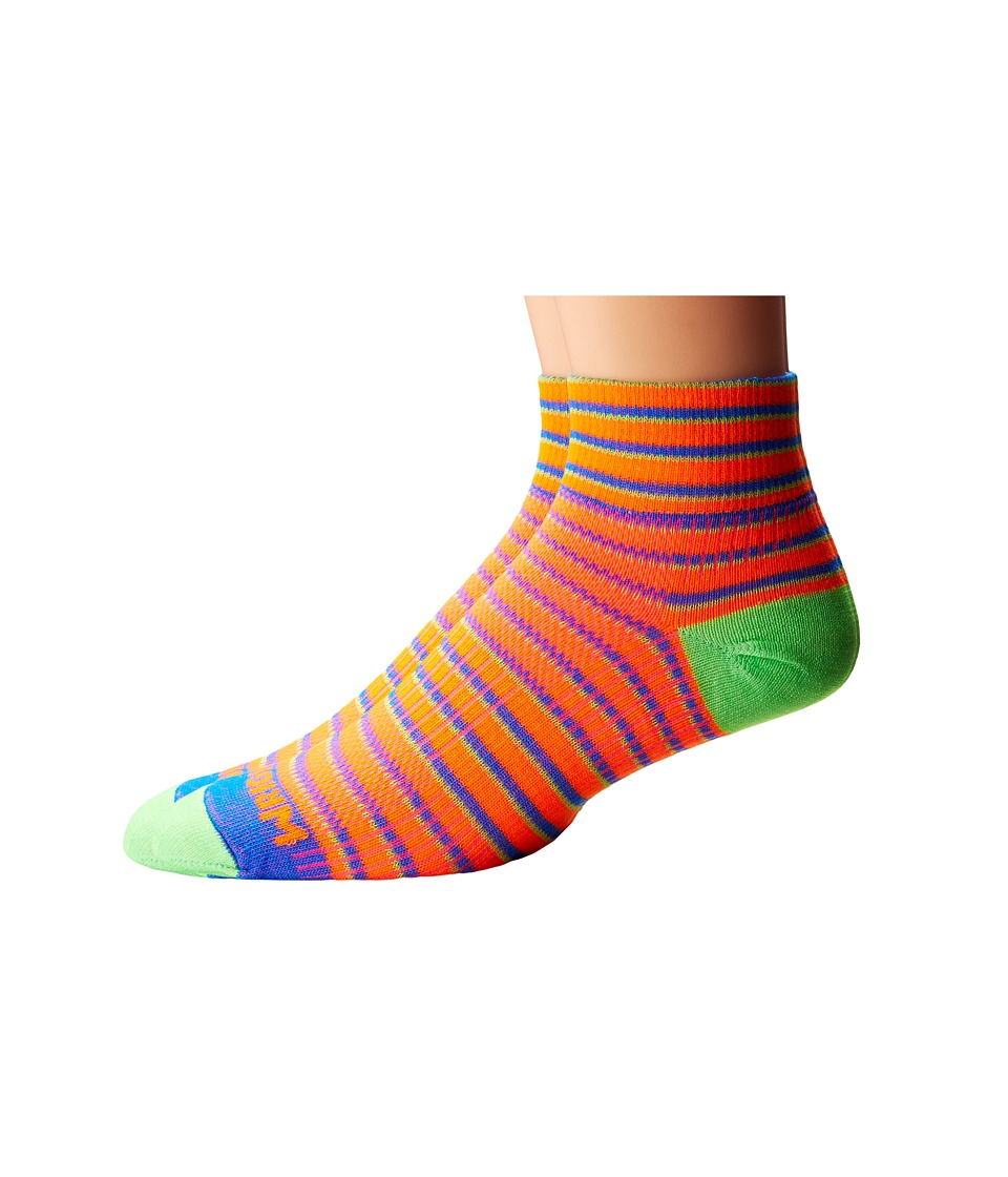 Wrightsock Coolmesh II Quarter Stripes 3 Pack Orange/Blue/Green Quarter Length Socks Shoes