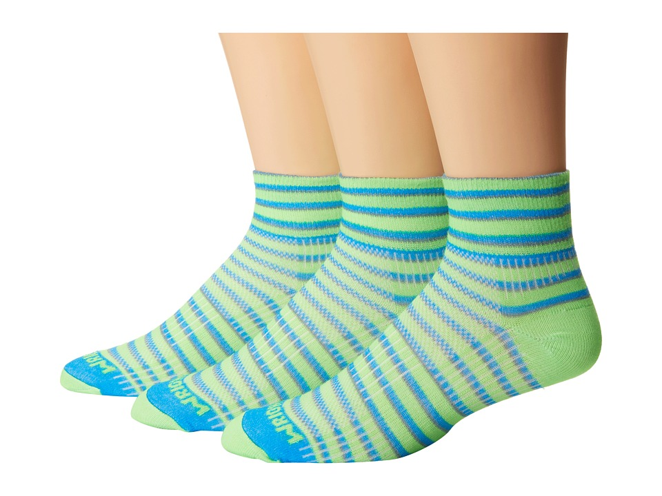 Wrightsock Coolmesh II Quarter Stripes 3 Pack Green/Blue/Grey Quarter Length Socks Shoes