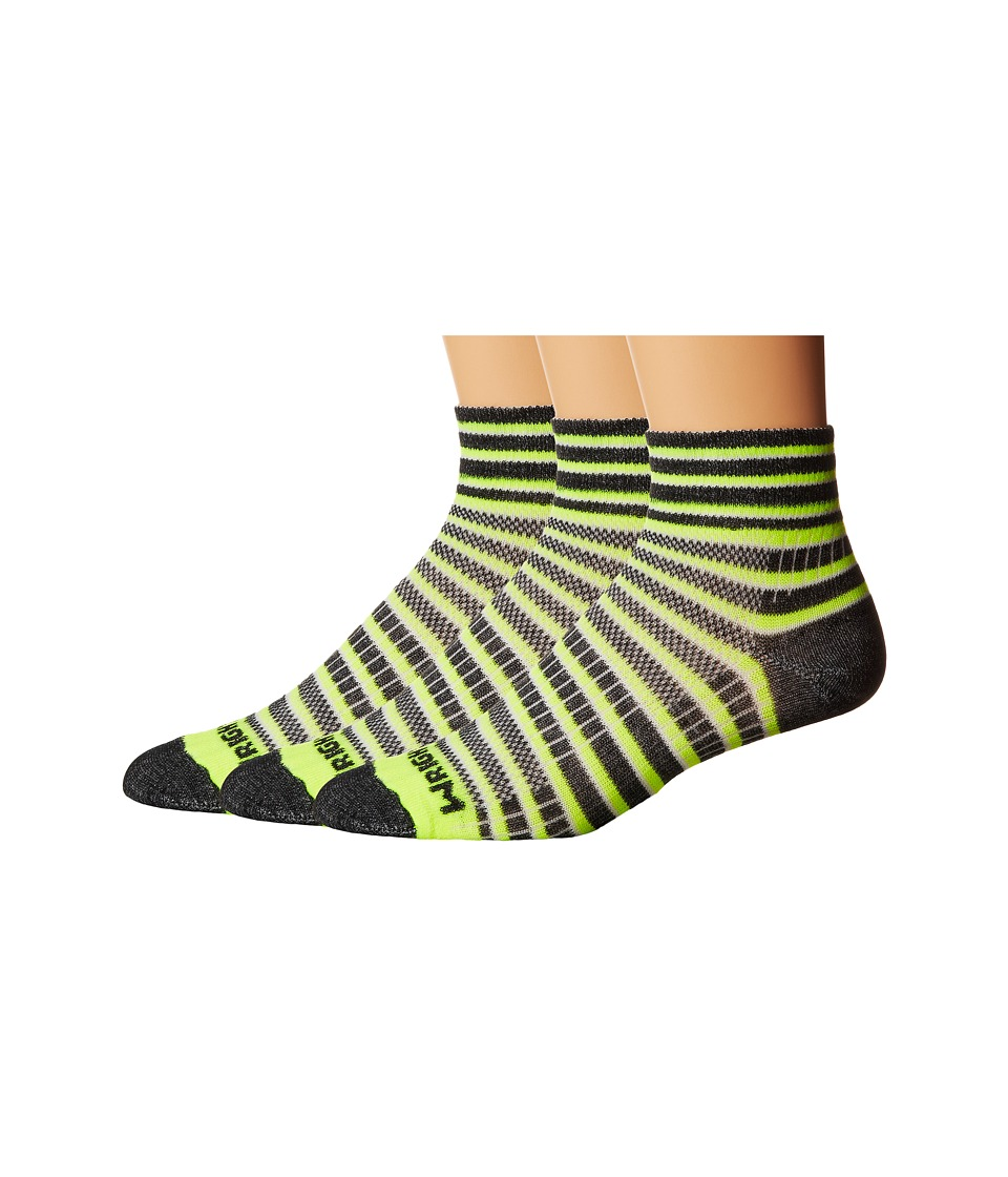 Wrightsock Coolmesh II Quarter Stripes 3 Pack Yellow/Black/White Quarter Length Socks Shoes
