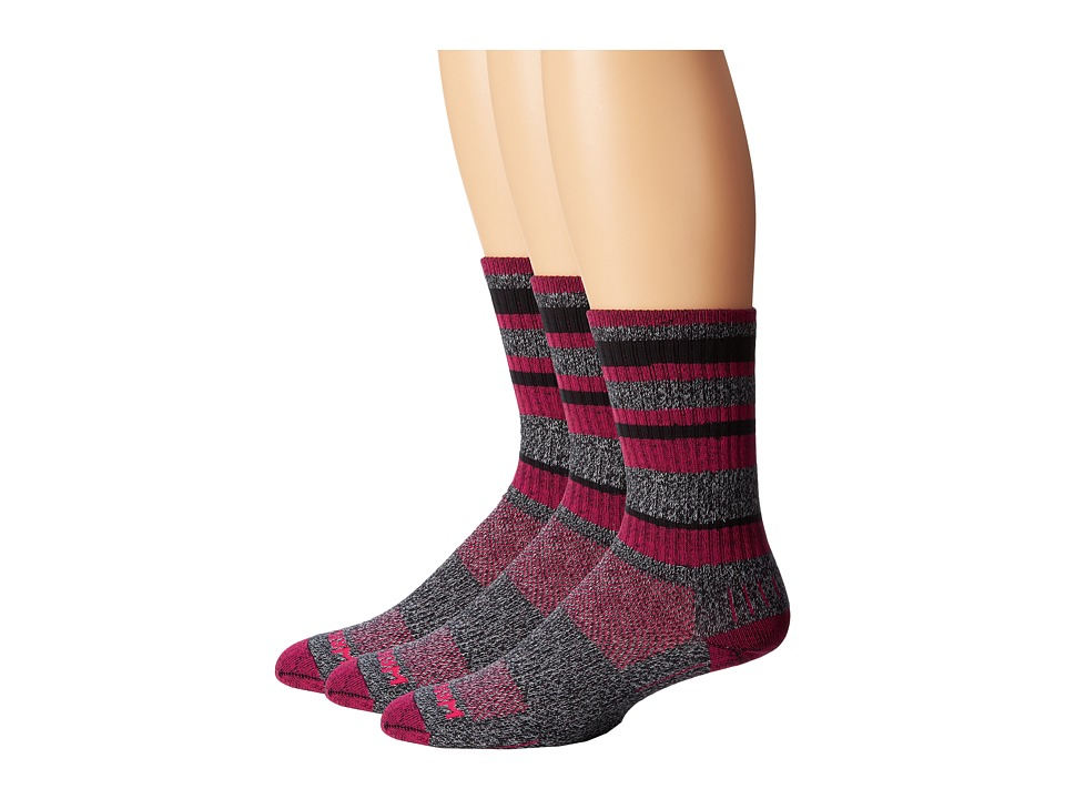 Wrightsock Adventure Crew 3 Pack Black Marl/Fuchsia Stripe Crew Cut Socks Shoes