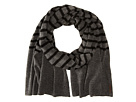 Cole Haan Lightweight Wool Stripe Muffler (Solid Derby)