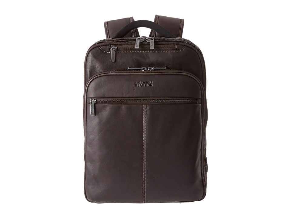 Kenneth Cole Reaction - Back-Stage Access Colombian Leather Computer Backpack (Brown) Backpack Bags