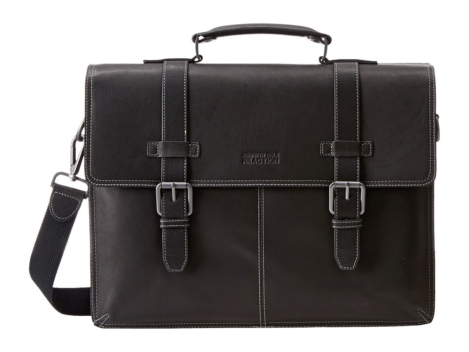 Kenneth Cole Reaction - Flappy Go Lucky Colombian Leather Flapover Brief (Black) Briefcase Bags