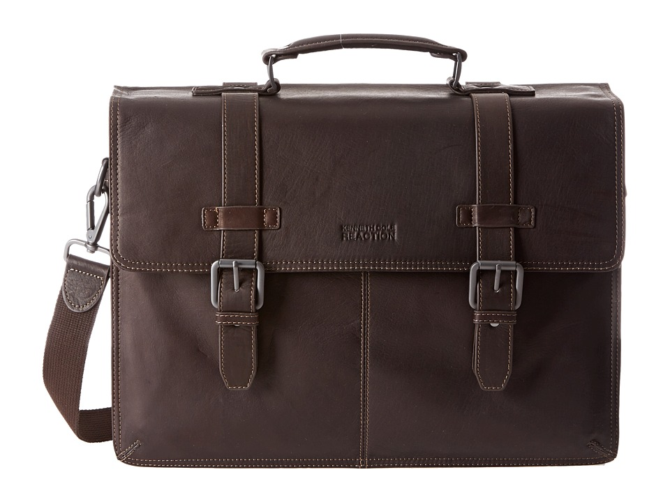 Kenneth Cole Reaction - Flappy Go Lucky Colombian Leather Flapover Brief (Brown) Briefcase Bags