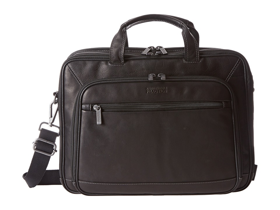 Kenneth Cole Reaction - A Golden Op-Port-Unity Colombian Leather Laptop Brief (Black) Briefcase Bags