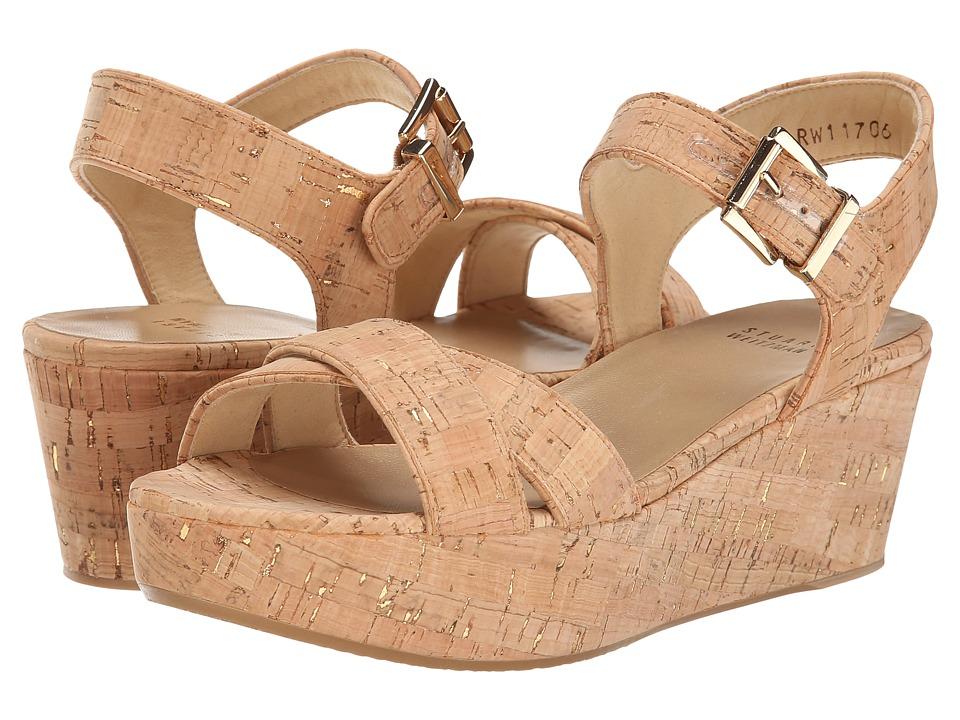 Stuart Weitzman Playdate Gold Nude Cork Womens Shoes