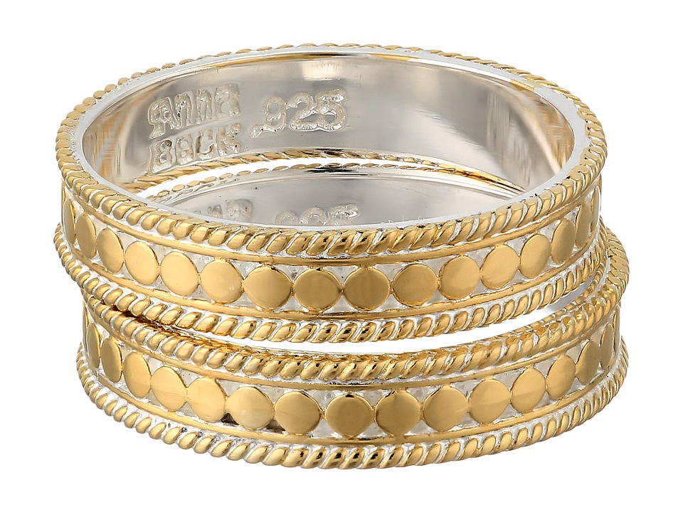 Anna Beck Set of 2 Stacking Band Rings Sterling Silver w/ 18K Gold Vermeil Ring