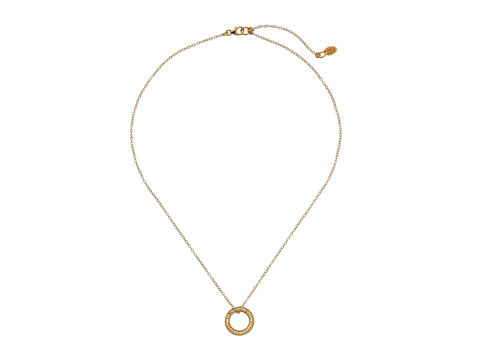 Anna Beck Floating O Charity Necklace w/ 16 18 Chain Sterling Silver w/ 18K Gold Vermeil Necklace