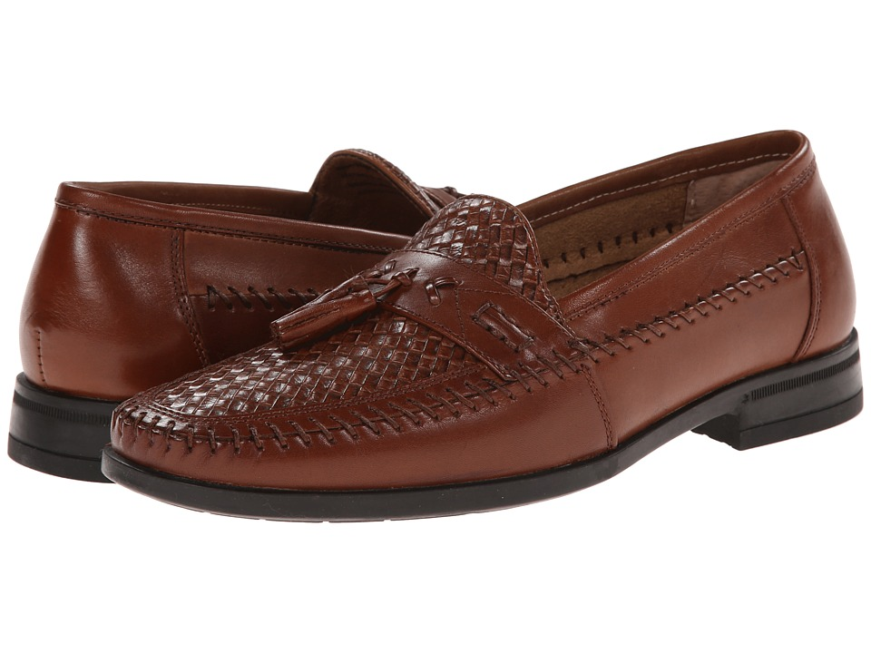 1960s Style Men's Clothing, 70s Men's Fashion Nunn Bush - Strafford Woven Cognac Mens Slip on  Shoes $67.95 AT vintagedancer.com