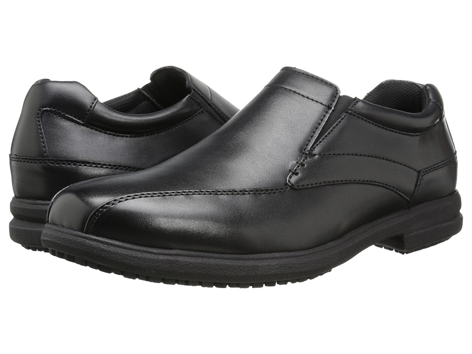 Nunn Bush - Sanford Slip Resistant Bicycle Toe Oxford Slip-On (Black) Men