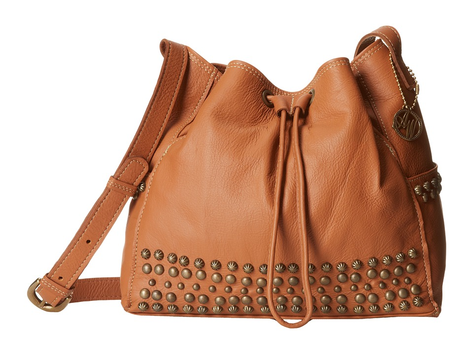 American West - Dixie Girl Soft Drawstring Crossbody Bucket Tote (Golden Tan) Cross Body Handbags
