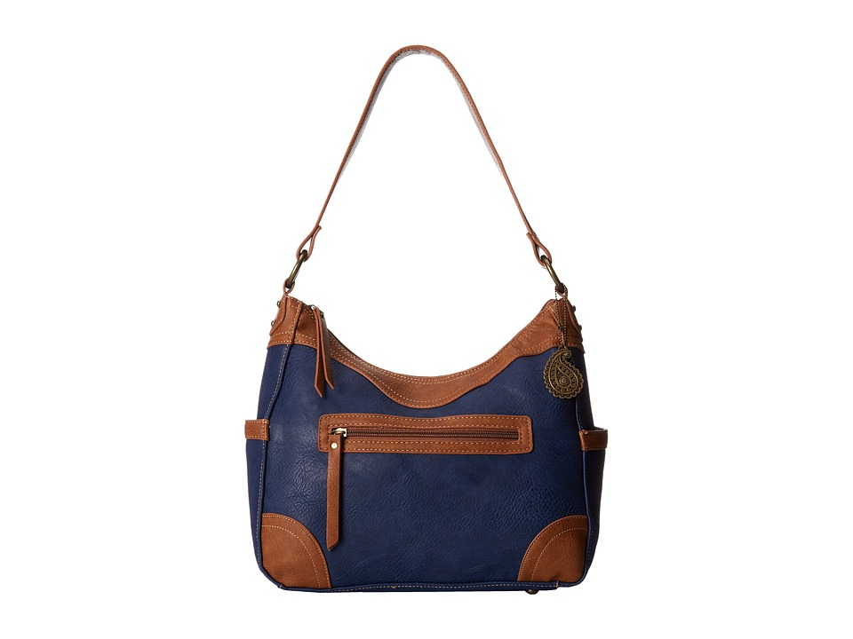 American West - Guns and Roses Large Shoulder Bag (Navy Blue/Tan) Shoulder Handbags
